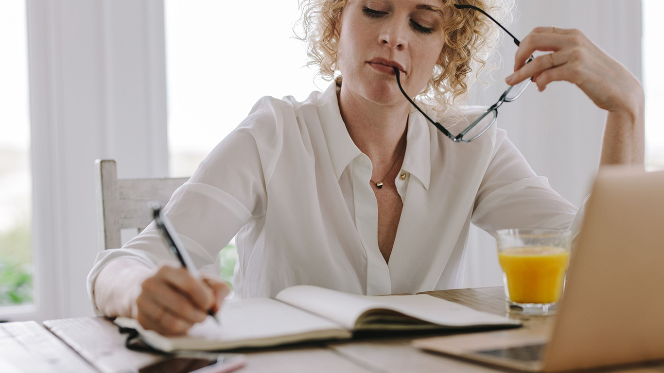 woman thinking about a career strategy